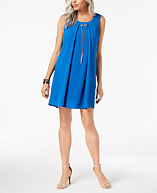 NY Collection Petite Pleated-Front Necklace Dress