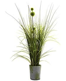 Grass & Dandelion Artificial Arrangement with Cement Planter