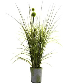 Nearly Natural Grass & Dandelion Artificial Arrangement with Cement Planter