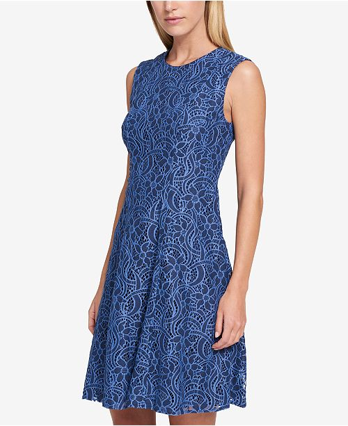 65927b84bebce8 Tommy Hilfiger Sleeveless Lace Fit   Flare Dress   Reviews - Dresses ...