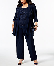 R & M Richards Plus Size Embellished Lace Jacket, Shell & Pants