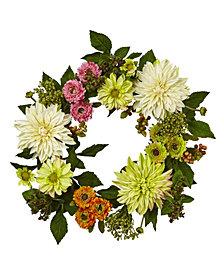 Nearly Natural 22'' Dahlia Mum Wreath
