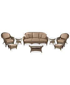 Sandy Cove Outdoor Wicker 8-Pc. Seating Set (1 Sofa, 2 Club Chairs, 2 Ottomans, 1 Coffee Table and 2 End Tables) Custom Sunbrella®, Created for Macy's