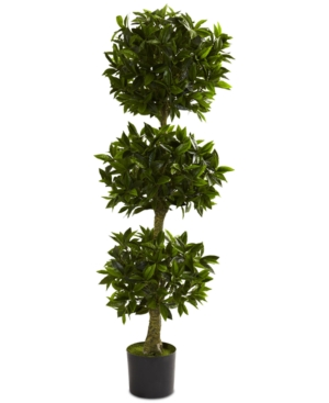 Nearly Natural 5 Artificial Triple Bay Leaf UvResistant IndoorOutdoor Topiary