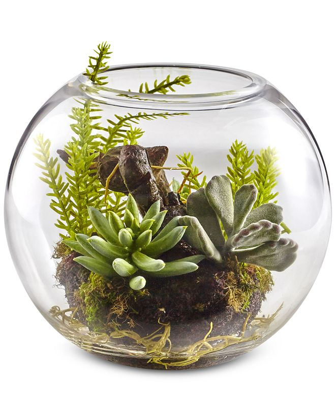 Nearly Natural Mixed Succulent Artificial Garden with Glass Vase