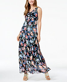 John Paul Richard Petite Printed Tiered Maxi Dress