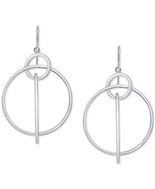 Interlocking Ring Drop Earrings in Sterling Silver