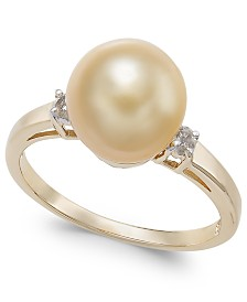 Cultured Golden South Sea Pearl (9mm) &  Diamond Accent Ring in 14k Gold