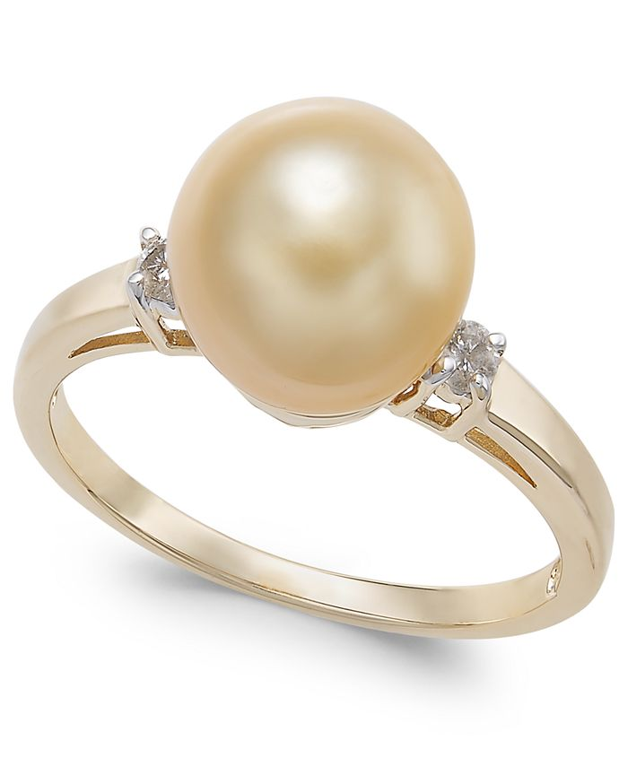 Macy's - Cultured Golden South Sea Pearl (9mm) &  Diamond Accent Ring in 14k Gold
