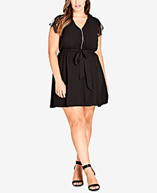 City Chic Trendy Plus Size Lace-Sleeve Tunic Dress