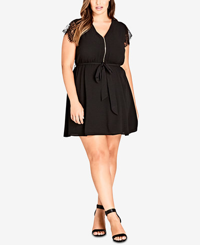 City Chic Trendy Plus Size Lace Sleeve Tunic Dress Dresses Plus