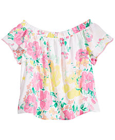 Love, Fire  Big Girls Floral-Print Top