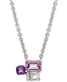 "Multi-Gemstone (1-1/2 ct. t.w.) & Diamond Accent 17"" Pendant Necklace in Sterling Silver"