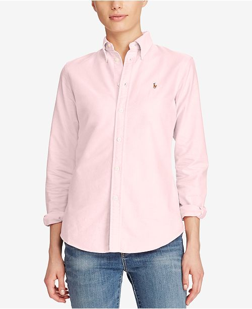 Polo Ralph Lauren Slim Fit Long-Sleeve Oxford Shirt - Tops - Women ... 629bd26778618