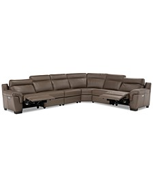 """Julius 150"""" II 6-Pc. Leather Sectional Sofa With 2 Power Recliners, Power Headrests & USB Power Outlet, Created for Macy's"""