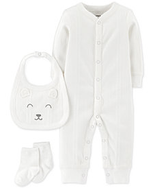 Carter's Baby Boys or Girls 3-Pc. Coverall, Bib & Socks Set