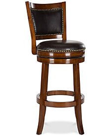 Idaline Walnut Swivel Bar Stool, Quick Ship