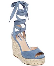 Steve Madden Women's Secret Ankle-Tie Espadrille Wedges