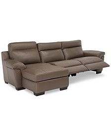 Julius II 3-Pc. Leather Chaise Sectional Sofa With 2 Power Recliners, Power Headrests And USB Power Outlet