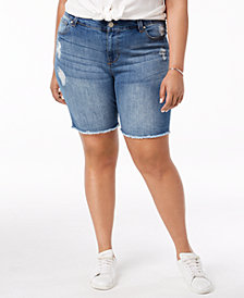 Celebrity Pink Plus Size Distressed Raw-Hem Denim Shorts