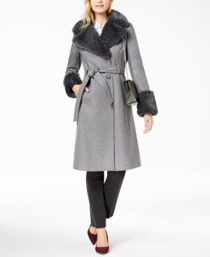 Vintage Coats & Jackets | Retro Coats and Jackets French Connection Belted Faux-Fur-Trim Coat $400.00 AT vintagedancer.com
