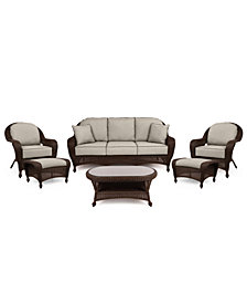 Monterey Outdoor Wicker 6-Pc. Seating Set (1 Sofa, 2 Club Chairs, 2 Ottomans & 1 Coffee Table) with Custom Sunbrella®,  Created for Macy's