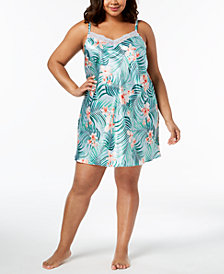 Thalia Sodi Plus Size Tropical-Print Sheer Lace Chemise, Created for Macy's
