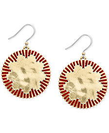 Lucky Brand Gold-Tone Threaded Disc Drop Earrings