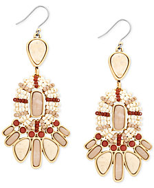 Lucky Brand Gold-Tone Stone & Bead Statement Earrings