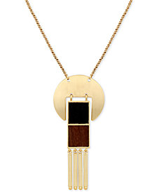 "Lucky Brand Gold-Tone & Wood 30"" Pendant Necklace"