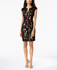 Connected Floral-Embroidered Panel Dress
