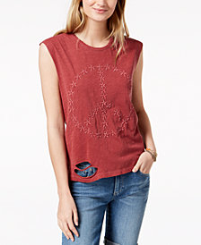 Lucky Brand Cotton Peace-Sign Distressed T-Shirt