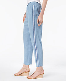 Style & Co Crochet-Trim Pull-On Pants, Created for Macy's