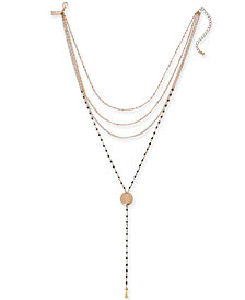 "I.N.C. Gold-Tone & Colored Bead Layered Lariat Necklace, 14"" + 3"" extender, Created for Macy's"