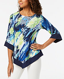 Alfred Dunner Royal Street Abstract-Print Asymmetrical Top