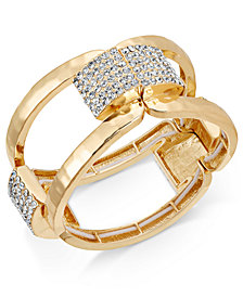I.N.C. Gold-Tone Pavé Hammered Stretch Bracelet, Created for Macy's
