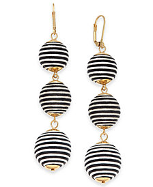 I.N.C. Gold-Tone Wrapped Ball Triple Drop Earrings, Created for Macy's