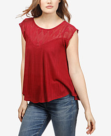 Lucky Brand Crochet-Detail Sleeveless Top