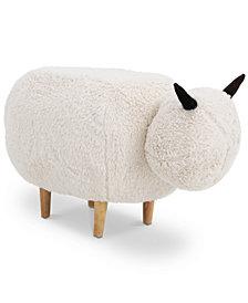 Madison Velvet Sheep Ottoman, Quick Ship