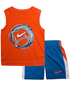 Nike  Little Boys 2-Pc. Baseball-Print Muscle Tank & Shorts Set