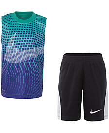 Nike  Little Boys 2-Pc. Printed Muscle Tank & Shorts Set