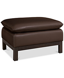 Ventroso Leather Ottoman, Created for Macy's