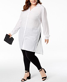 INC Plus Size Long Linen Tunic Shirt, Created for Macy's