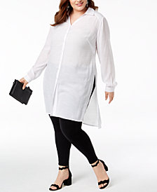 INC Plus Size Long Linen Tunic Shirt, Created for Macy's