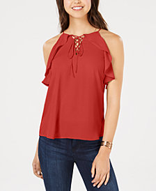 Hippie Rose Juniors' Ruffled Lace-Up Top