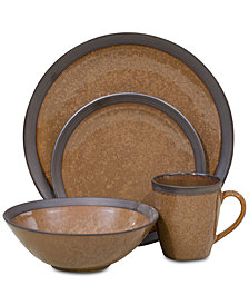 Sango Omega Cocoa Brown 16-Pc. Dinnerware Set