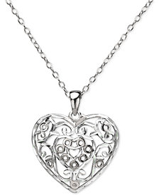 "Giani Bernini Filigree Heart 16"" Pendant Necklace in Sterling Silver, Created for Macy's"