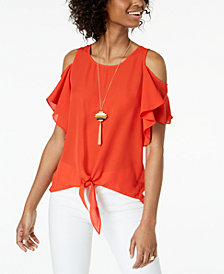 BCX Juniors' Cold-Shoulder Tie-Front Top with Necklace