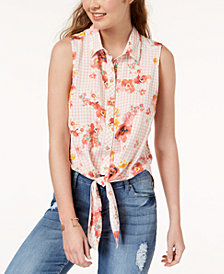 Polly & Esther Juniors' Tie-Front Blouse