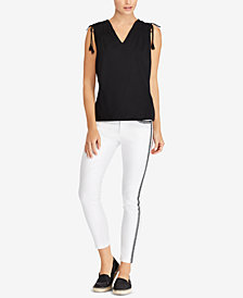 Lauren Ralph Lauren Tassel-Tie Cotton Top and Striped Skinny Jeans